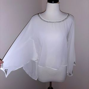 NWOT Guess Cropped Cape Blouse
